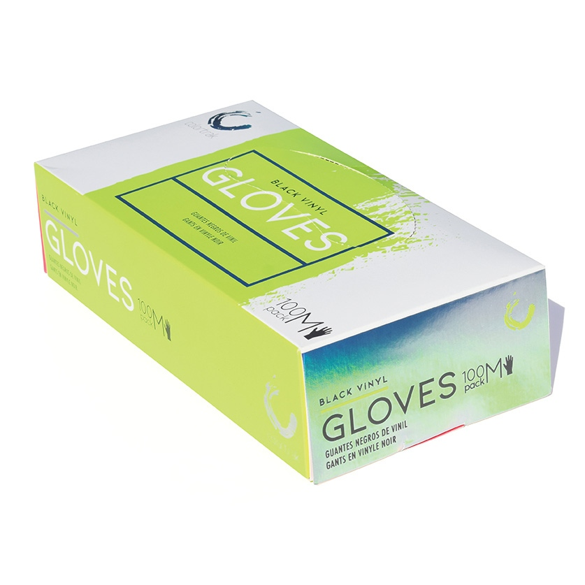 Colortrak Gloves: Black Disposable Vinyl Gloves - Medium